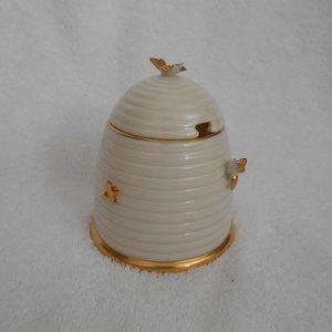 Lenox bee hive honey jar pot gold bees